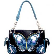 G939W209 CONCEALED CARRY BUTTERFLY EMBROIDERED SATCHEL~BLACK