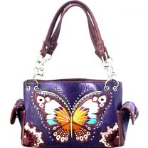 G939W209 CONCEALED CARRY BUTTERFLY EMBROIDERED SATCHEL~PURPLE