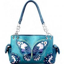 G939W209 CONCEALED CARRY BUTTERFLY EMBROIDERED SATCHEL~BLUE