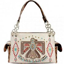 G939W212 CONCEALED CARRY WESTERN AMERICAN EAGLE EMBROIDERED COLLECTION SATCHEL~BEIGE