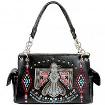 G939W212 CONCEALED CARRY WESTERN AMERICAN EAGLE EMBROIDERED COLLECTION SATCHEL~BLACK