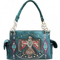 G939W212 CONCEALED CARRY WESTERN AMERICAN EAGLE EMBROIDERED COLLECTION SATCHEL~TEAL
