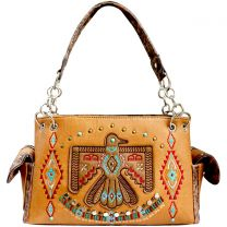 G939W212 CONCEALED CARRY WESTERN AMERICAN EAGLE EMBROIDERED COLLECTION SATCHEL~TAN