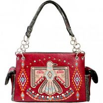 G939W212 CONCEALED CARRY WESTERN AMERICAN EAGLE EMBROIDERED COLLECTION SATCHEL~WINE