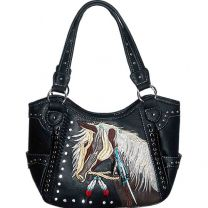 G980W193 Concealed Carry Western Horse Embroidery Shoulder Bag Black