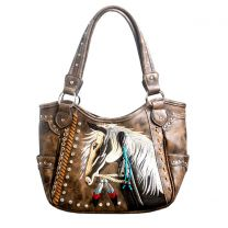 G980W193 CONCEALED CARRY WESTERN HORSE EMBROIDERY SHOULDER BAG BROWN