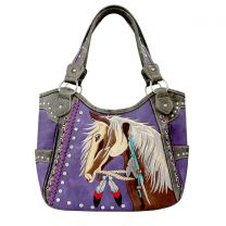 G980W193 CONCEALED CARRY WESTERN HORSE EMBROIDERY SHOULDER BAG PURPLE