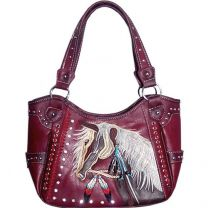 G980W193 Concealed Carry Western Horse Embroidery Shoulder Bag Red