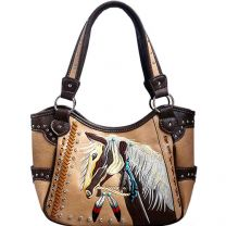 G980W193 Concealed Carry Western Horse Embroidery Shoulder Bag Tan
