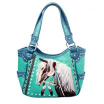 G980W193 CONCEALED CARRY WESTERN HORSE EMBROIDERY SHOULDER BAG TURQUOISE
