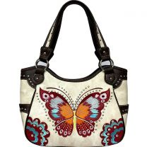 G980W209 CONCEALED CARRY BUTTERFLY EMBROIDERED SHOULDER BAG~BEIGE