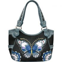 G980W209 CONCEALED CARRY BUTTERFLY EMBROIDERED SHOULDER BAG~BLACK