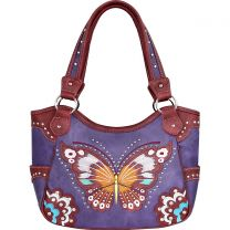 G980W209 CONCEALED CARRY BUTTERFLY EMBROIDERED SHOULDER BAG~PURPLE