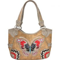 G980W209 CONCEALED CARRY BUTTERFLY EMBROIDERED SHOULDER BAG~TAN