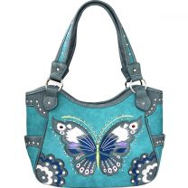 G980W209 CONCEALED CARRY BUTTERFLY EMBROIDERED SHOULDER BAG~TURQUOISE