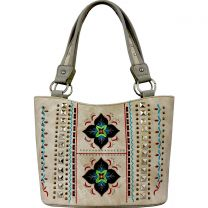 GL302W160 CONCEALED CARRY WESTERN EMBROIDERED COLLECTION TOTE~BEIGE