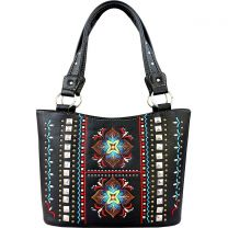 GL302W160 CONCEALED CARRY WESTERN EMBROIDERED COLLECTION TOTE~BLACK