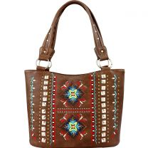 GL302W160 CONCEALED CARRY WESTERN EMBROIDERED COLLECTION TOTE~BROWN