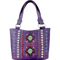 GL302W160 CONCEALED CARRY WESTERN EMBROIDERED COLLECTION TOTE~PURPLE