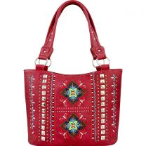 GL302W160 CONCEALED CARRY WESTERN EMBROIDERED COLLECTION TOTE~RED