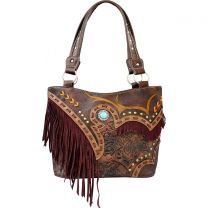 GL302W200 CONCEALED CARRY WESTERN FRINGE EMBROIDERED COLLECTION HANDBAG~BROWN