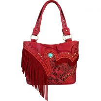GL302W200 CONCEALED CARRY WESTERN FRINGE EMBROIDERED COLLECTION HANDBAG~RED