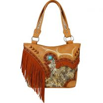 GL302W200 CONCEALED CARRY WESTERN FRINGE EMBROIDERED COLLECTION HANDBAG~TAN