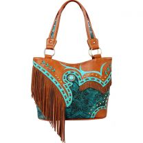 GL302W200 CONCEALED CARRY WESTERN FRINGE EMBROIDERED COLLECTION HANDBAG~TURQUOISE