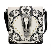 GP605W188 CONCEALED CARRY WESTERN BUCKLE EMBROIDERY CROSSBODY BAG~BEIGE