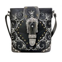 GP605W188 CONCEALED CARRY WESTERN BUCKLE EMBROIDERY CROSSBODY BAG~BLACK