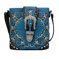 GP605W188 CONCEALED CARRY WESTERN BUCKLE EMBROIDERY CROSSBODY BAG~BLUE