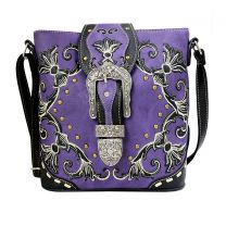 GP605W188 CONCEALED CARRY WESTERN BUCKLE EMBROIDERY CROSSBODY BAG~PURPLE