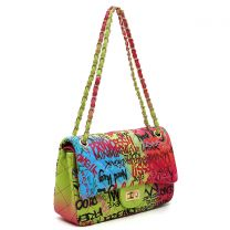 GP738Q MULTI GRAFFITI PRINT QUILTED MEDIUM CLASSIC SHOULDER BAG~BLUE/FUCHSIA