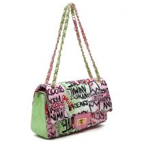 GP738Q MULTI GRAFFITI PRINT QUILTED MEDIUM CLASSIC SHOULDER BAG~LIME/PINK
