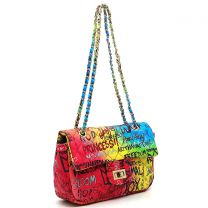 GP740Q MULTI GRAFFITI PRINT QUILTED SMALL CLASSIC SHOULDER BAG~BLUE/FUCHSIA