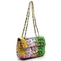 GP740Q MULTI GRAFFITI PRINT QUILTED SMALL CLASSIC SHOULDER BAG~GREEN/PINK