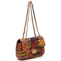 GP740Q MULTI GRAFFITI PRINT QUILTED SMALL CLASSIC SHOULDER BAG~TAN/YELLOW