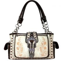 GP939W112 Concealed Carry Western Buckle Embroidery HandBag Beige