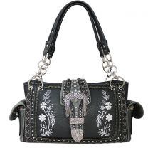 GP939W112 Concealed Carry Western Buckle Embroidery HandBag Black