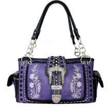 GP939W112 Concealed Carry Western Buckle Embroidery HandBag Purple