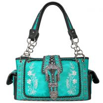 GP939W112 Concealed Carry Western Buckle Embroidery HandBag Turquoise