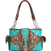 GP939W141N Concealed Carry Western Buckle Embroidery HandBag Turquoise