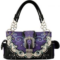 GP939W177 CONCEALED CARRY WESTERN BUCKLE EMBROIDERY SATCHEL PURPLE