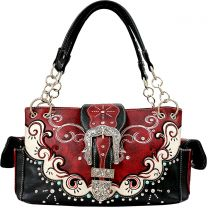 GP939W177 CONCEALED CARRY WESTERN BUCKLE EMBROIDERY SATCHEL RED