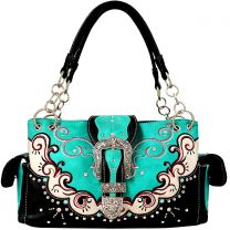 GP939W177 CONCEALED CARRY WESTERN BUCKLE EMBROIDERY SATCHEL TURQUOISE