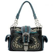 G939W191 CONCEALED CARRY WESTERN BUCKLE EMBROIDERY SATCHEL BLACK