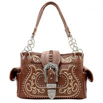 G939W191 CONCEALED CARRY WESTERN BUCKLE EMBROIDERY SATCHEL BROWN