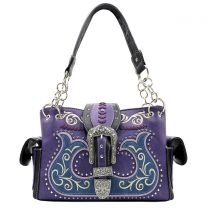 G939W191 CONCEALED CARRY WESTERN BUCKLE EMBROIDERY SATCHEL PURPLE