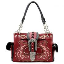 G939W191 CONCEALED CARRY WESTERN BUCKLE EMBROIDERY SATCHEL WINE