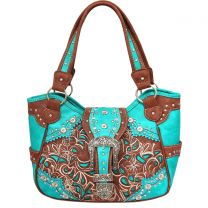 GP980W141N Concealed Carry Western Buckle Embroidery Tote Shoulder Bag Turquoise